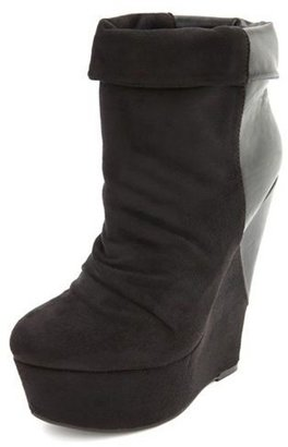 Charlotte Russe Sueded Pleather Trim Wedge Bootie