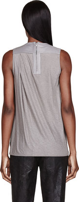 Helmut Lang Light Grey Leather & SoftWool Draping Top