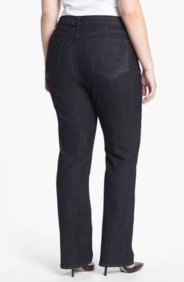 NYDJ 'Marilyn' Faux Leather Detail Straight Leg Jeans (Plus Size)