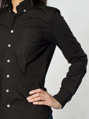 American Apparel Unisex Poplin Long Sleeve Button-Down With Pocket