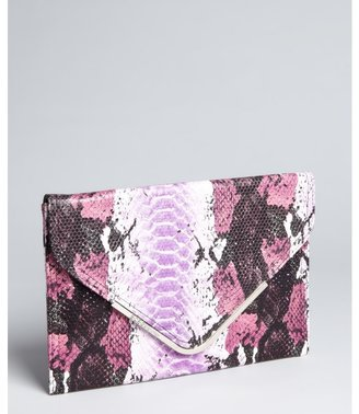 BCBGeneration raspberry snake print faux leather envelope clutch