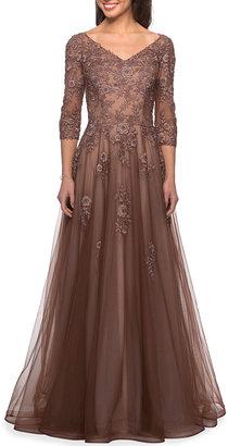 La Femme Floral Lace & Tulle A-Line Gown