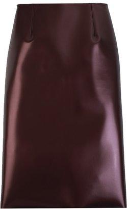 Tibi Bonded Vinyl Pencil Skirt-Burgundy