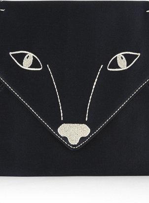BCBGMAXAZRIA Foxy Embroidered Satin Envelope Clutch