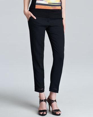 Escada Tibonis Sheer-Hem Stretch Ankle Pants, Black