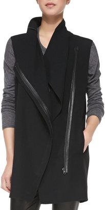 Vince Leather-Trim Asymmetric Wool Vest