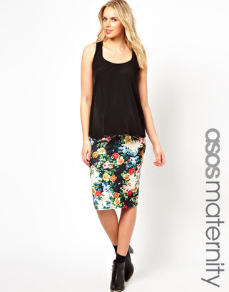 Asos Exclusive Pencil Skirt In Floral Print