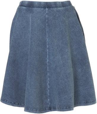 Topshop Tall Denim Look Skater Skirt