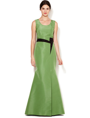 Carolina Herrera Silk Asymmetrical Waist Embellished Gown
