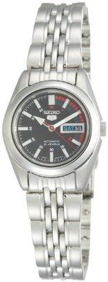 Seiko Women's SYMA43 Seiko 5 Automatic Black Dial Stainless Steel Watch $109 thestylecure.com