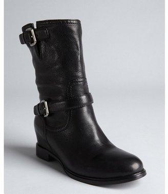 Prada Sport black pebbled leather buckle boots