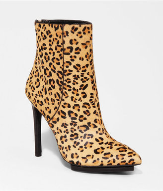 Express Leopard Haircalf Pointed Toe Runway Bootie