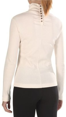 Joan Vass Cotton Mock Turtleneck - Long Sleeve (For Women)