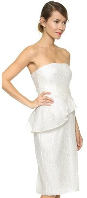 Badgley Mischka Collection Asymmetrical Peplum Strapless Dress