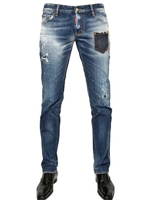 DSquared 18cm Nonna Patch Slim Fit Denim Jeans