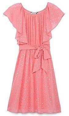 Speechless Gold Dot Coral Chiffon Dress - Girls