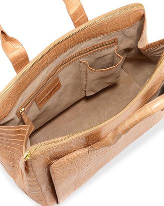 Nancy Gonzalez Crocodile Large Zip Tote Bag, Beige