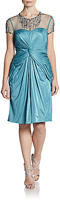 Adrianna Papell Embellished llusion-Neck Draped Cocktail Dress