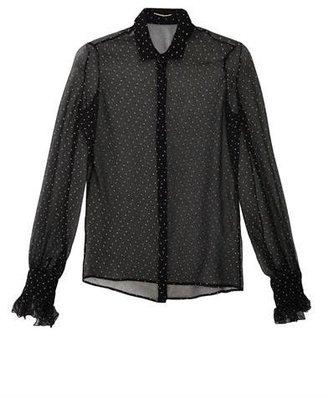 Saint Laurent Dot-print ruffle cuff blouse