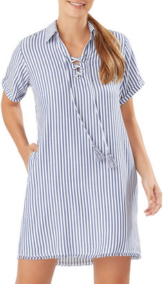 Tommy Bahama Stripe Chambray Mini Coverup Shirtdress