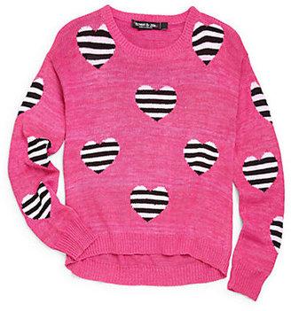 Flowers by Zoe Girl's Striped Hearts Sweater
