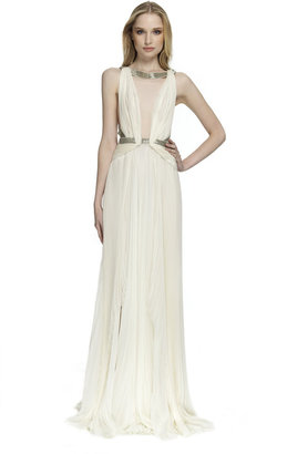 J. Mendel Sleeveless Pleated Gown With Open Back