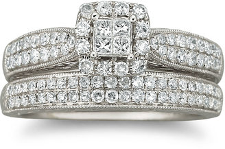JCPenney FINE JEWELRY Cherished Hearts 3/4 CT. T.W. Certified Diamond Wedding Ring Set