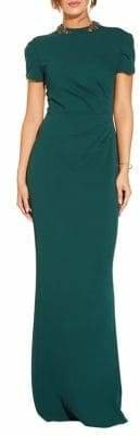 Adrianna Papell Beaded Neck Ruched Gown