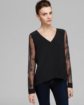 Tibi Top - Long Sleeve Chantilly Lace Combo