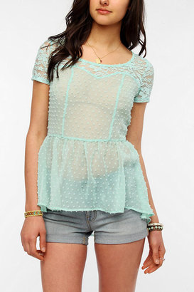 Urban Outfitters Pins And Needles Clip Dot High/Low Blouse
