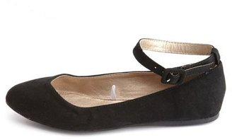 Charlotte Russe Sueded Ankle-Strap Ballet Flat