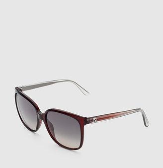 Gucci Transparent Red Oversized Square Sunglasses