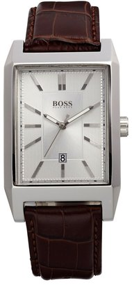HUGO BOSS Rectangular Leather Strap Watch, 22mm x 33mm