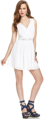 GUESS Dress, Sleeveless V-Neck Lace A-Line