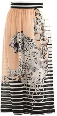 Emma Cook Snow-leopard print silk skirt