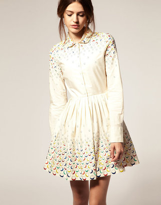 Asos Fit And Flare Dress With Embroidered Spot