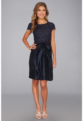 Suzi Chin for Maggy Boutique - S/S Scoop Neck Lace 2fer Dress (Navy/Midnight) - Apparel