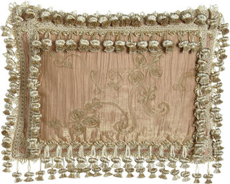 """Sweet Dreams Alessandra Crushed Silk Pillow with Sheer Overlay & Onion Trim, 13"""" x 17"""""""