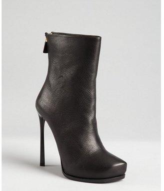 Lanvin black pebbled leather pointed stub toe platform boots