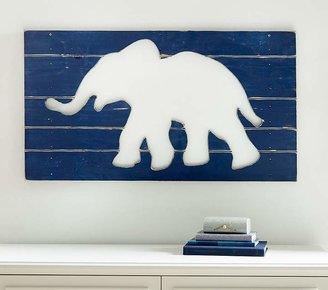 Pottery Barn Kids Gray Elephant Wood Plaque