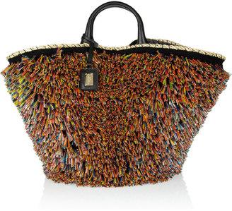 Dolce & Gabbana Kendra raffia-trimmed straw and leather shopper