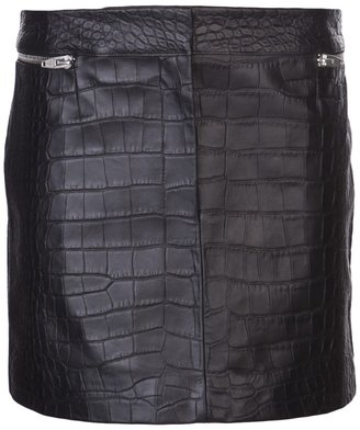 Alexander Wang embossed crocodile leather skirt