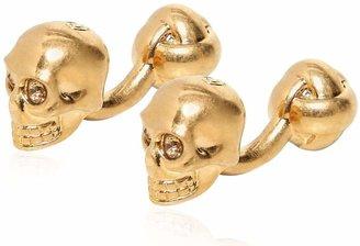 Alexander McQueen Swarovski Skull Shiny Brass Cufflinks