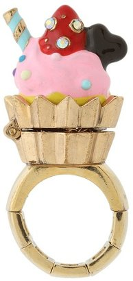 Betsey Johnson Paris Is Always A Good Idea Cupcake Stretch Ring (Pink) - Jewelry