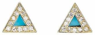 Jennifer Meyer Women's Diamond & Turquoise Triangle Stud Earrings