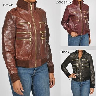 Knoles & Carter Women's Plus Size Zippered Leather Bomber Jacket $66.99 thestylecure.com