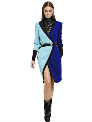 Ungaro Wool Crepe Two Tone Wrap Dress