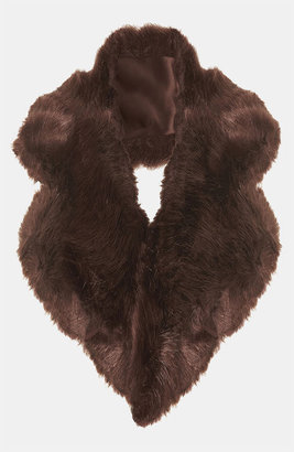 Topshop Faux Fur Collar Womens Burgundy One Size One Size