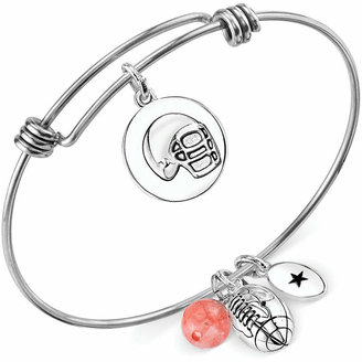 Unwritten Football Charm and Cherry Quartz Stone (8mm) Bangle Bracelet in Stainless Steel