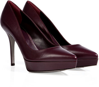Sergio Rossi Leather Pointy Toe Platform Pumps in Burgundy